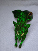 Fox Brooch by Lea Stein Paris - Gorgeous Green Marbled Effect Fox Pin (sold)